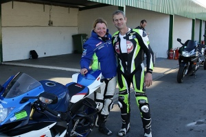 Rider with James Whitham at a James Whitham track training day at Mallory Park