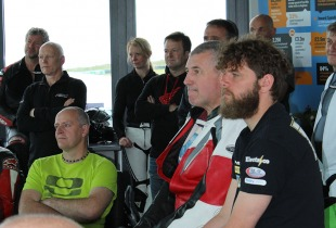 Rider briefing at a James Whitham track training day at Anglesey.