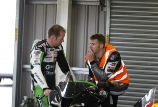 Ian Hutchinson gives instruction at one of his James Whitham motorcycle track training day events.